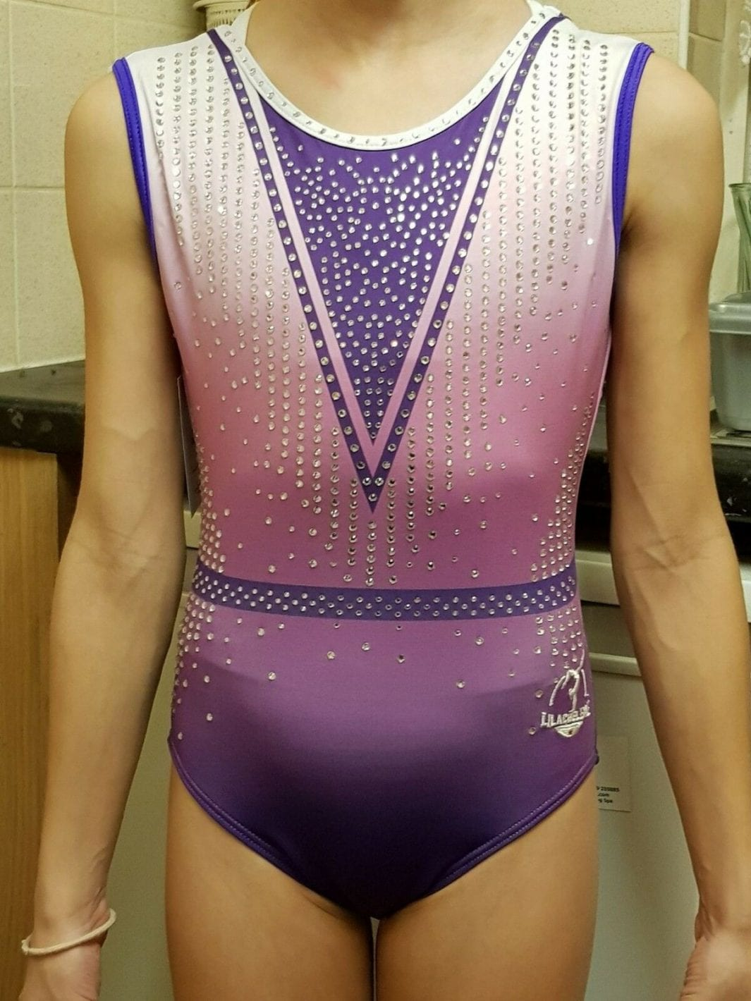 2a48e0d1615d Purple Rain Girls Gymnastics leotard with 100 s of Crystals ...