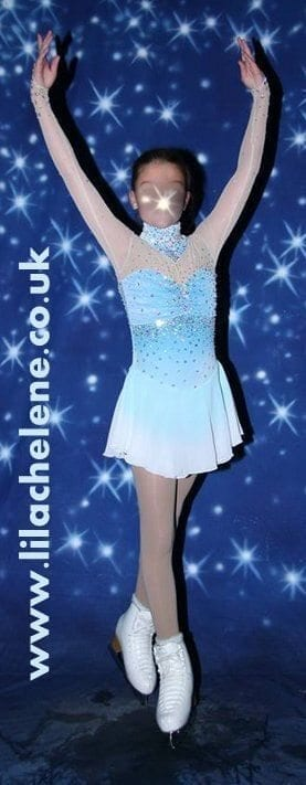 Ice Figure Skating Dress Competition Baton Twirling Dance Tap//Costome Girl Blue